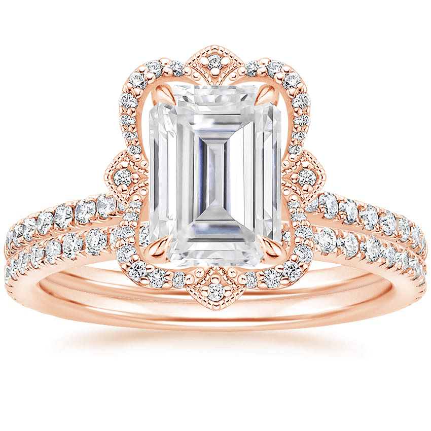 14KR Moissanite Reina Diamond Ring with Luxe Ballad Diamond Ring (1/4 ct. tw.), top view