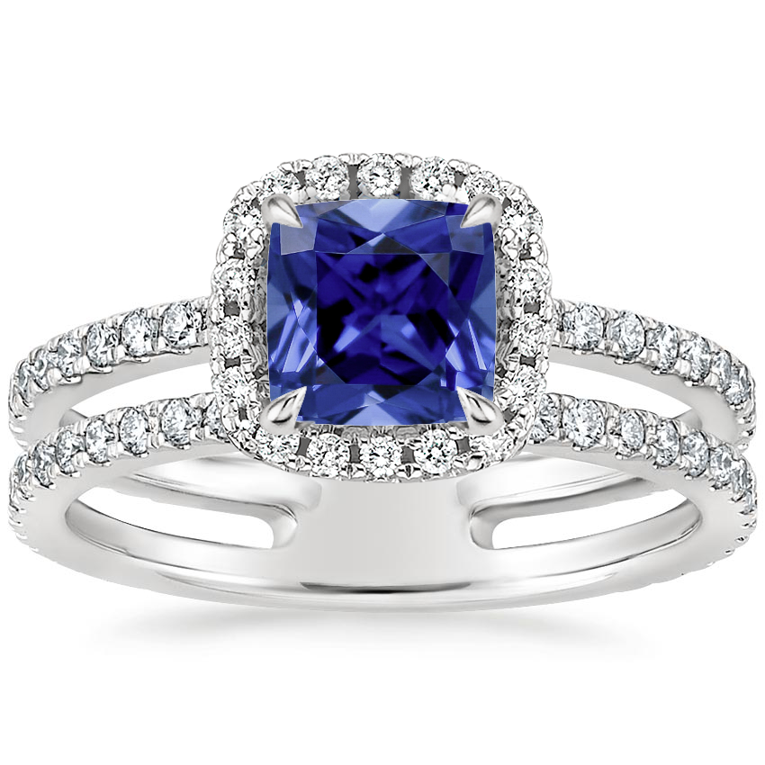 Sapphire Linnia Halo Diamond Ring (2/3 ct. tw.) in 18K White Gold
