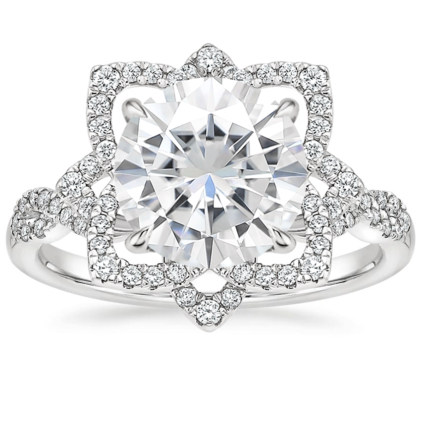 Moissanite Lily Diamond Ring in 18K White Gold