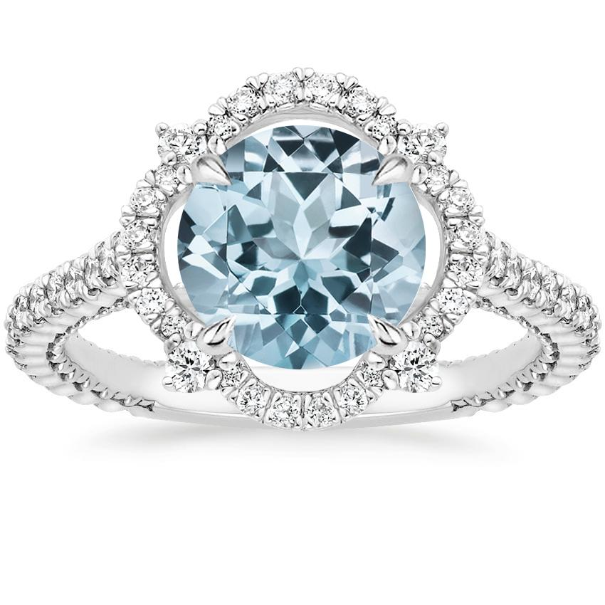 Aquamarine Fleur Diamond Ring in 18K White Gold