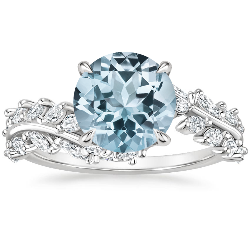 Aquamarine Winding Ivy Diamond Ring (3/4 ct. tw.) in 18K White Gold