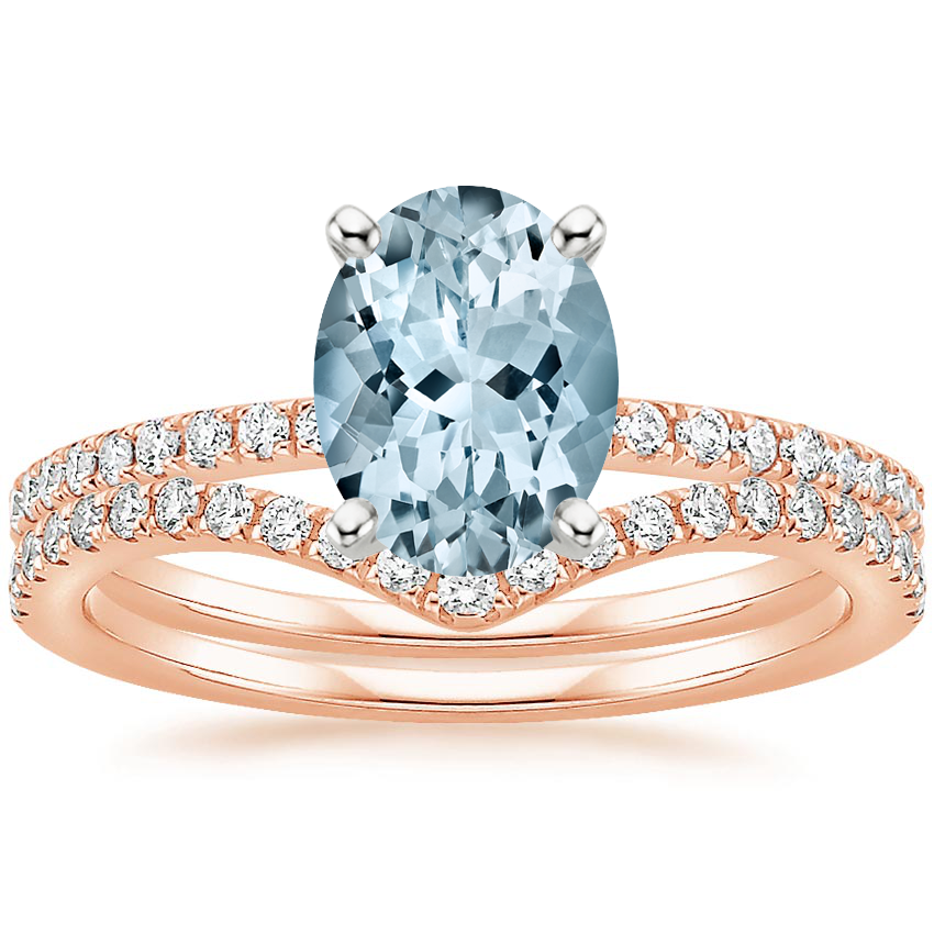 14KR Aquamarine Ballad Diamond Ring (1/8 ct. tw.) with Flair Diamond Ring (1/6 ct. tw.), top view
