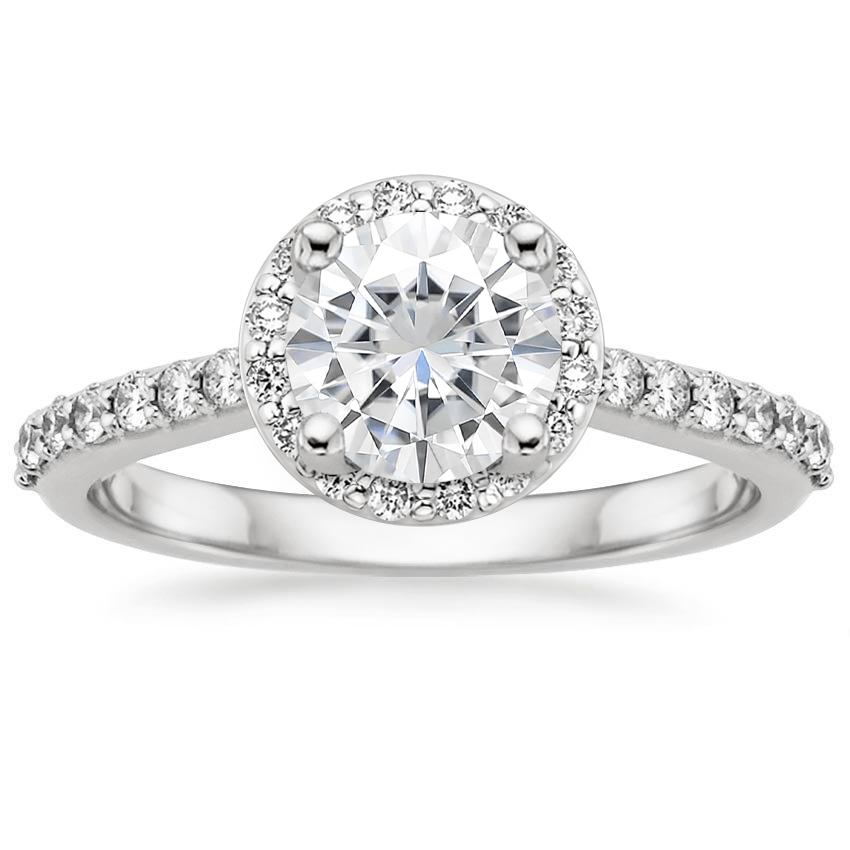 Moissanite Halo Diamond Ring with Side Stones (1/3 ct. tw.) in 18K White Gold