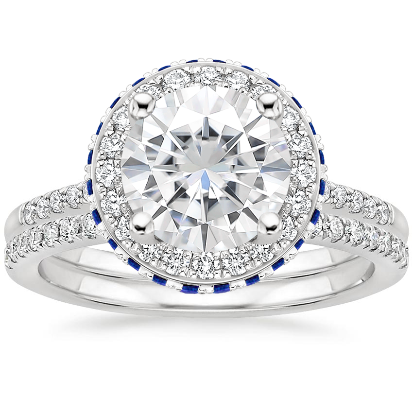 18KW Moissanite Circa Diamond Ring with Sapphire Accents with Ballad Diamond Ring (1/6 ct. tw.), top view