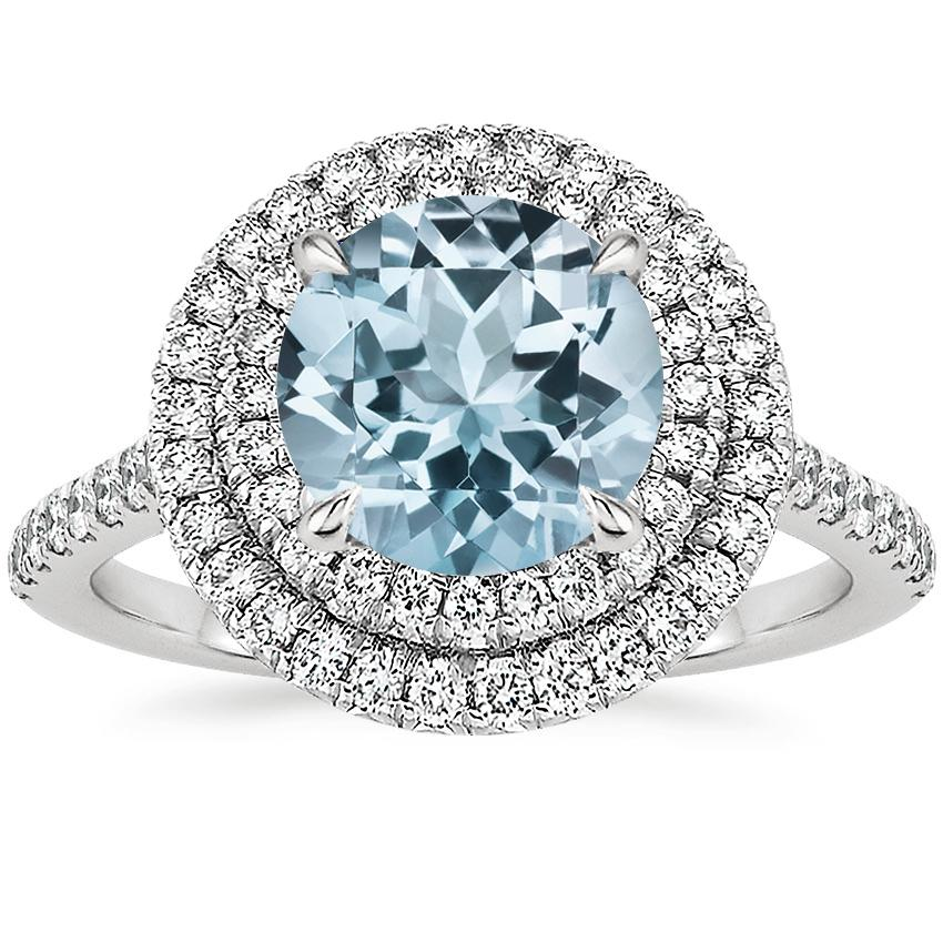 Aquamarine Soleil Diamond Ring (1/2 ct. tw.) in 18K White Gold