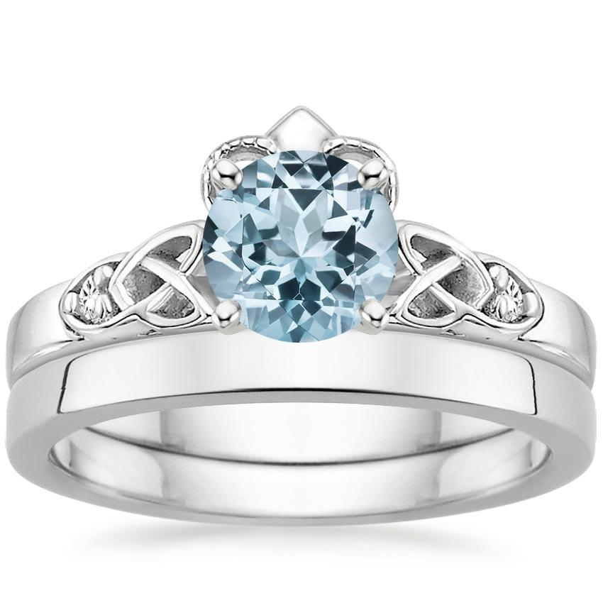 PT Aquamarine Celtic Claddagh Diamond Bridal Set, top view