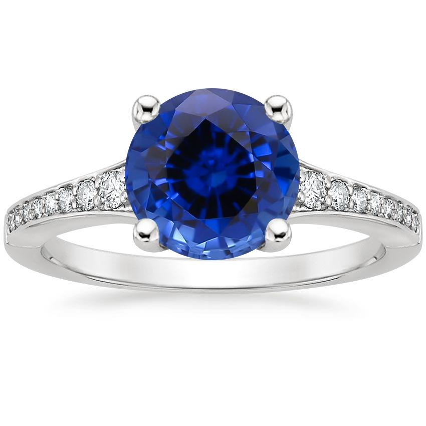 Sapphire Poetica Diamond Ring in 18K White Gold