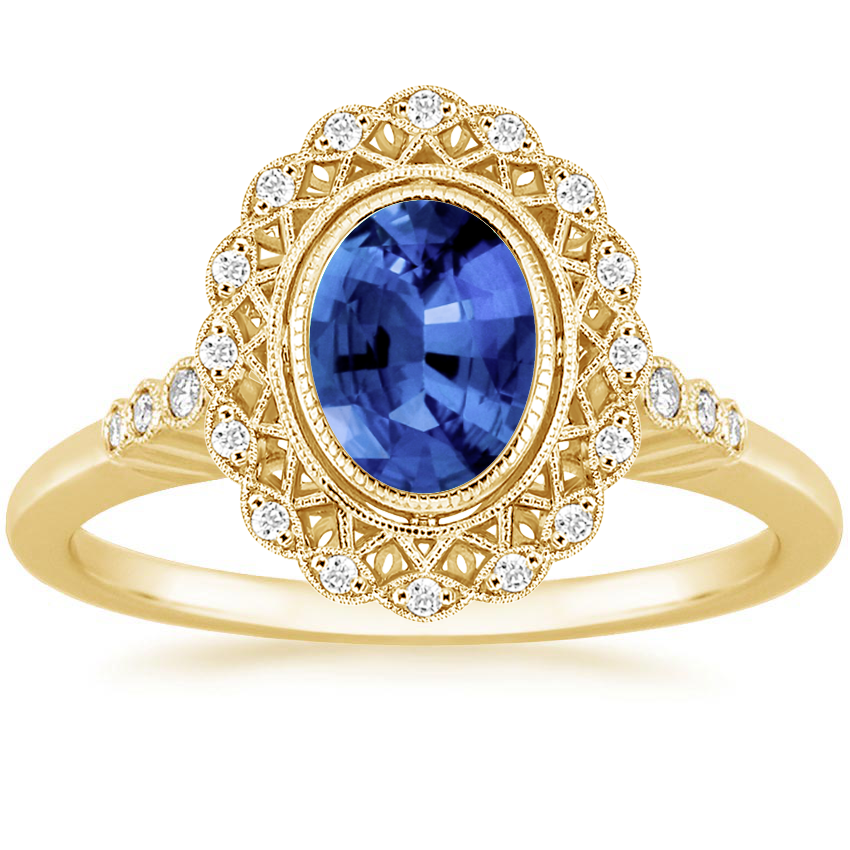 Yellow Gold Sapphire Alvadora Diamond Ring