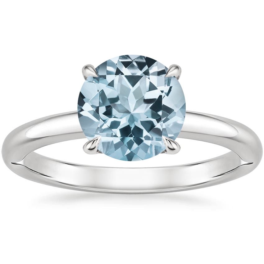 Aquamarine Heritage Diamond Ring in 18K White Gold