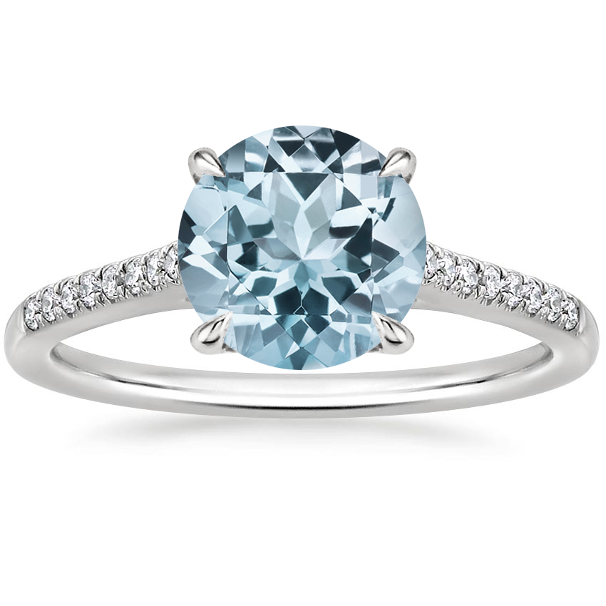 Aquamarine Lissome Diamond Ring (1/10 ct. tw.) in 18K White Gold