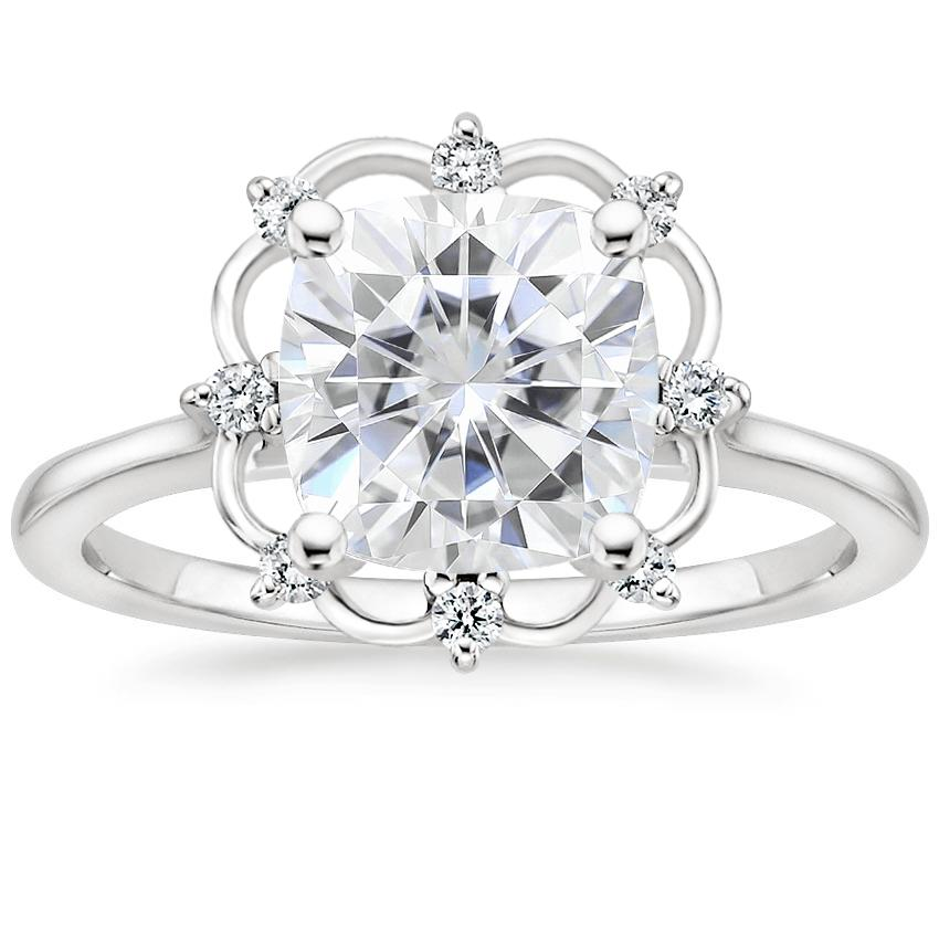 Moissanite Chantilly Diamond Ring in 18K White Gold