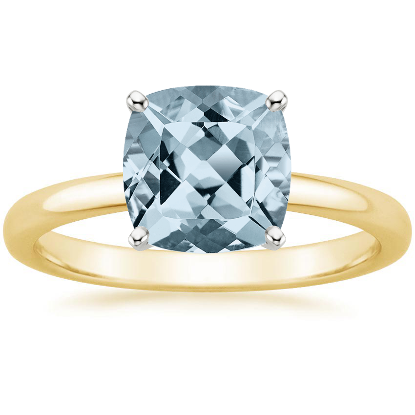 Yellow Gold Aquamarine 2mm Comfort Fit Ring