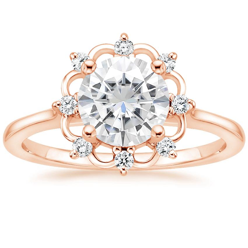 Rose Gold Moissanite Chantilly Diamond Ring
