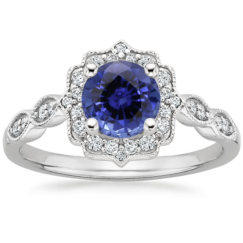 Sapphire Cadenza Halo Diamond Ring in Platinum