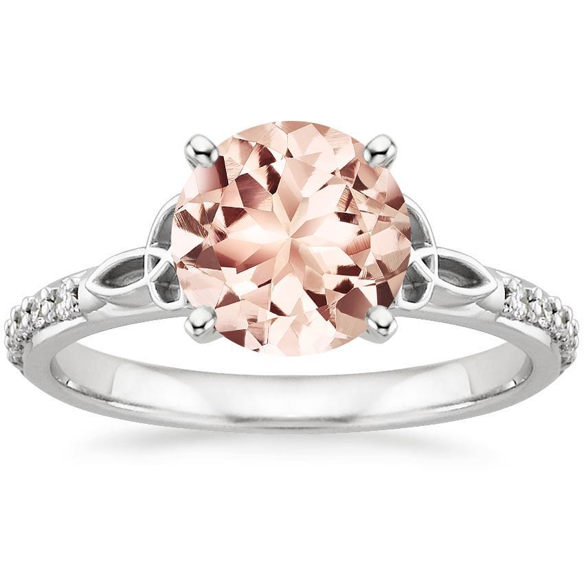Morganite Luxe Celtic Love Knot Diamond Ring In 18k White Gold