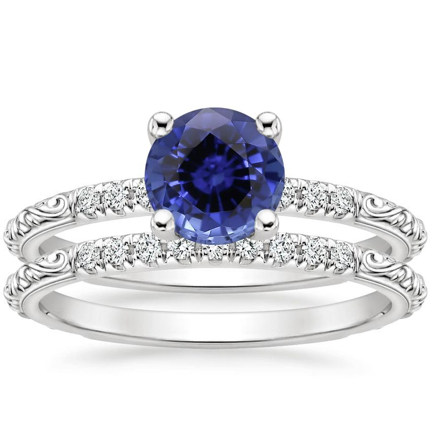 18KW Sapphire Adeline Diamond Bridal Set, top view