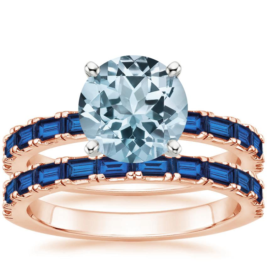 14KR Aquamarine Gemma Bridal Set with Sapphire Accents, top view