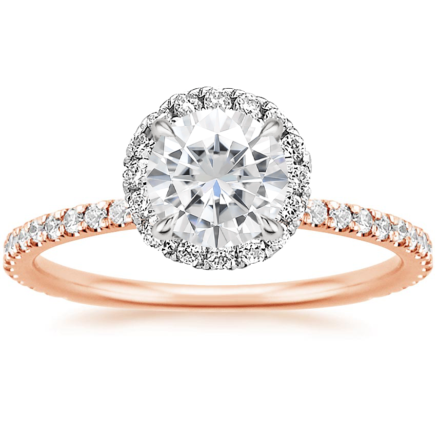 Rose Gold Moissanite Mixed Metal Waverly Diamond Ring (1/2 ct. tw.)