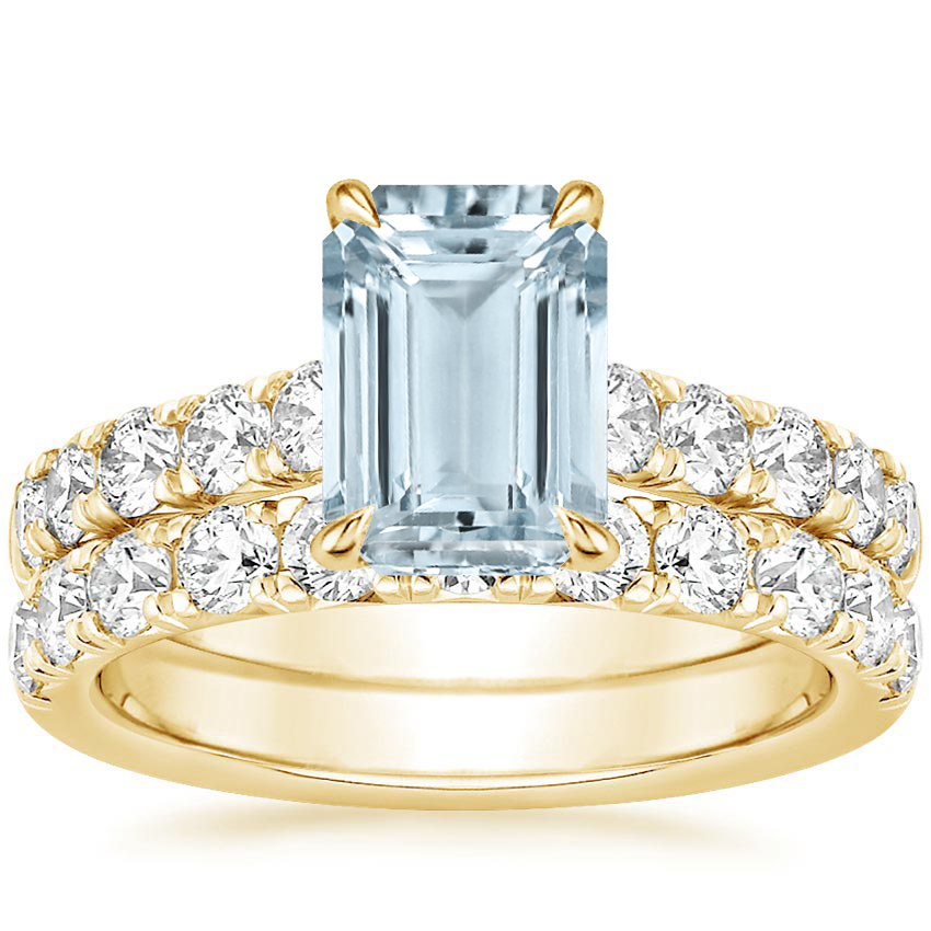 18KY Aquamarine Luxe Anthology Bridal Set (1 1/5 ct. tw.), top view