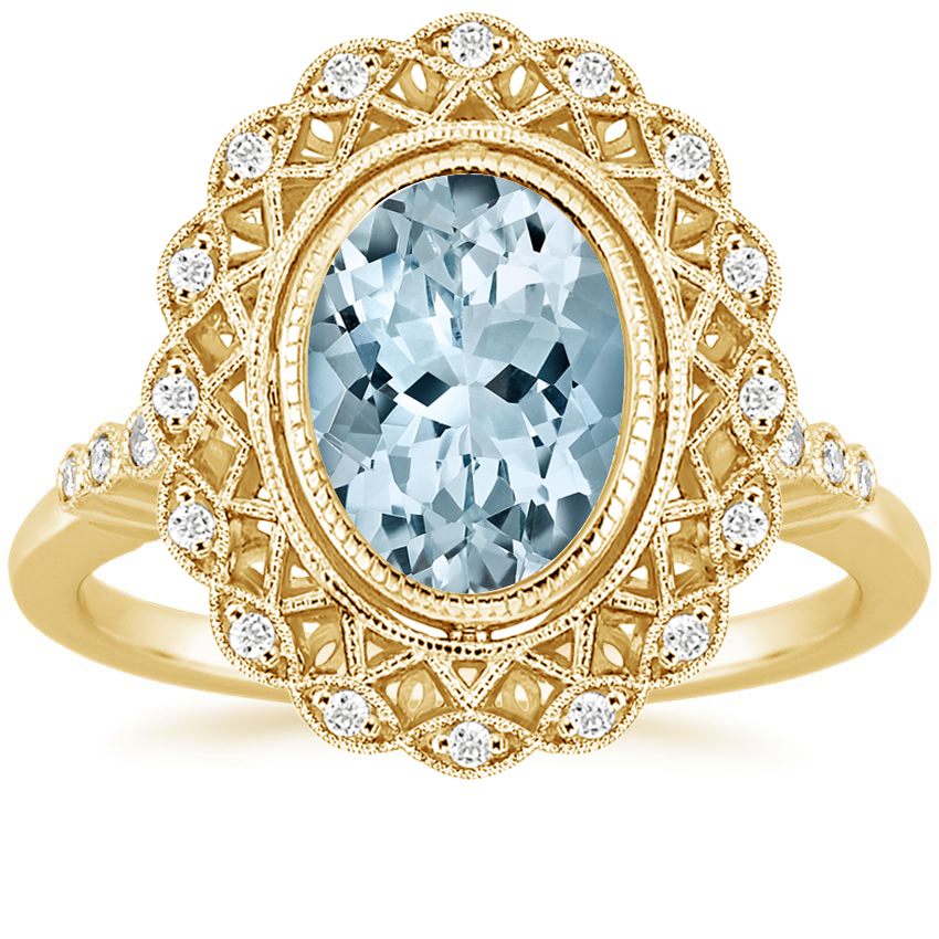 Yellow Gold Aquamarine Alvadora Diamond Ring