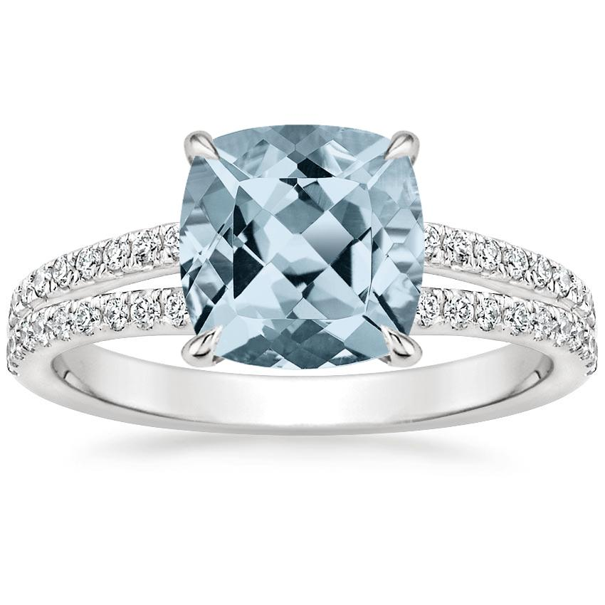 Aquamarine Mirra Diamond Ring (1/4 ct. tw.) in 18K White Gold