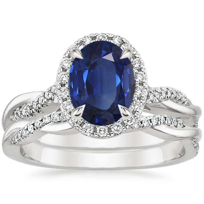 Sapphire Petite Twisted Vine Halo Diamond Bridal Set (1/3