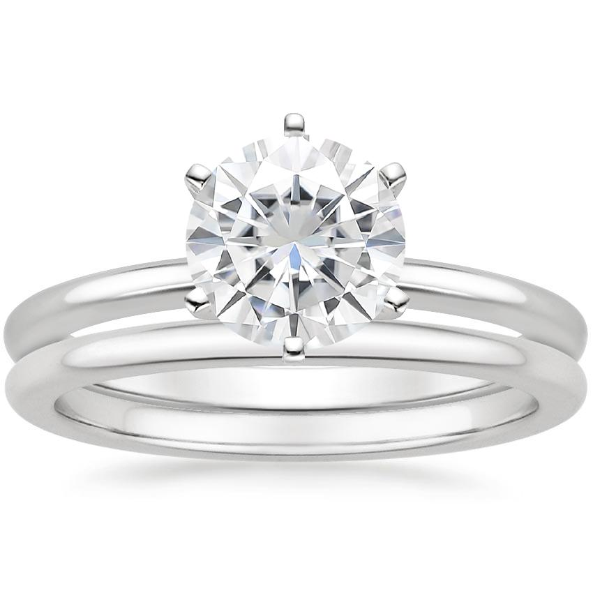 18KW Moissanite Six-Prong Petite Comfort Fit Bridal Set, top view