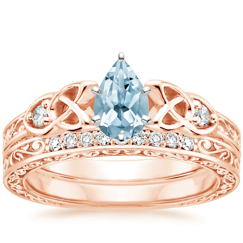 14KR Aquamarine Aberdeen Diamond Bridal Set, top view