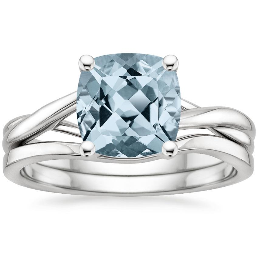 18KW Aquamarine Grace Bridal Set, top view