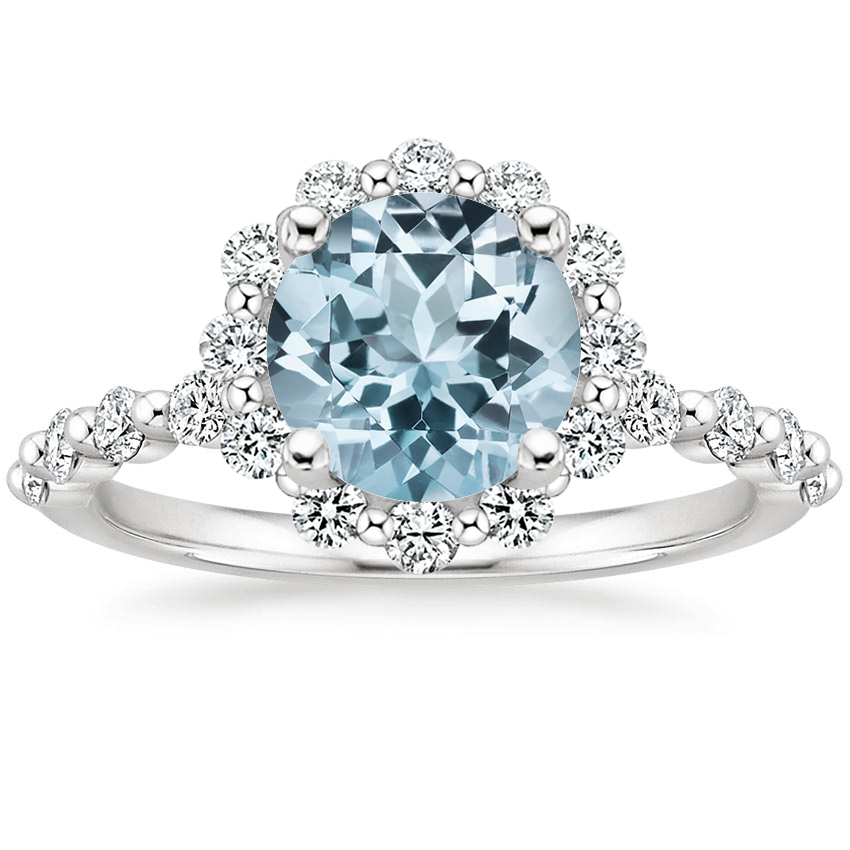 Aquamarine Marseille Halo Diamond Ring (1/2 ct. tw.) in Platinum