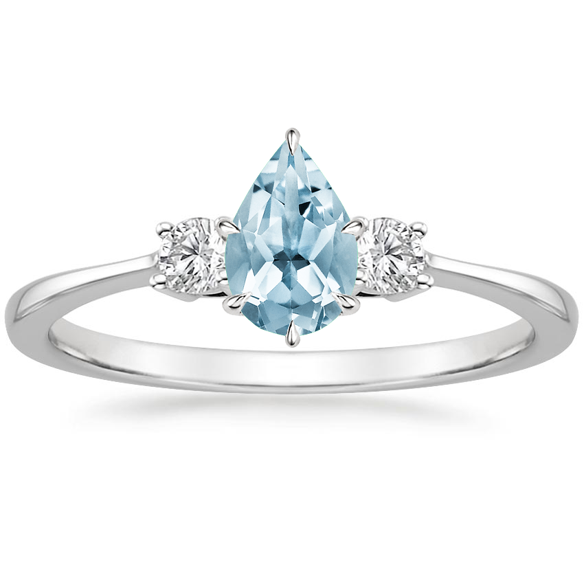 Aquamarine Selene Diamond Ring (1/10 ct. tw.) in 18K White Gold