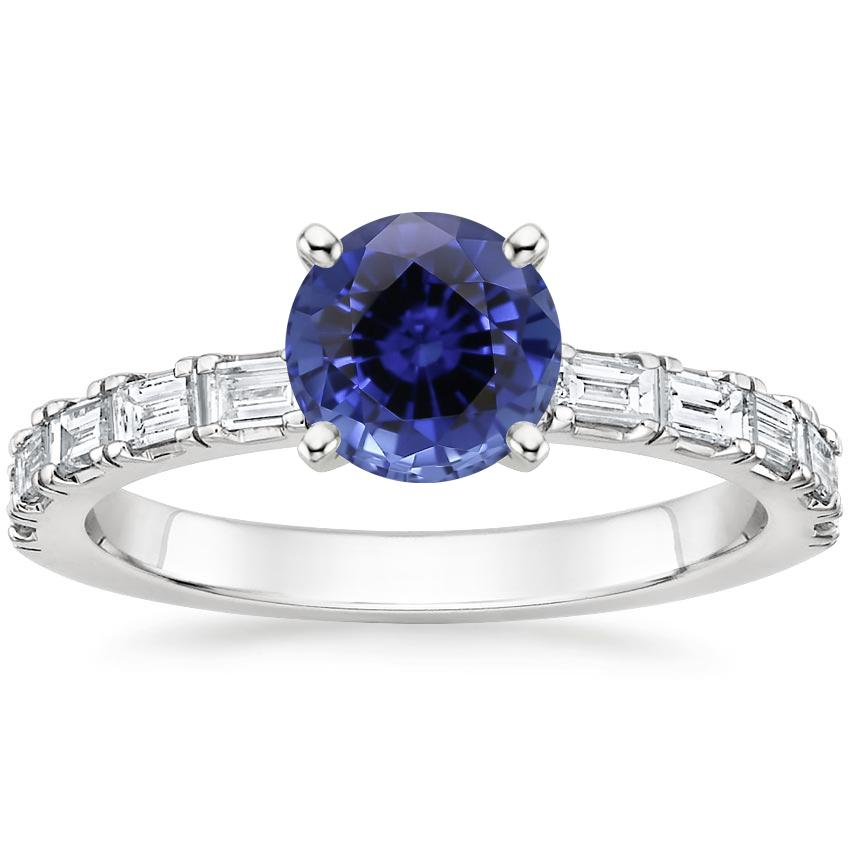 Sapphire Gemma Diamond Ring in 18K White Gold