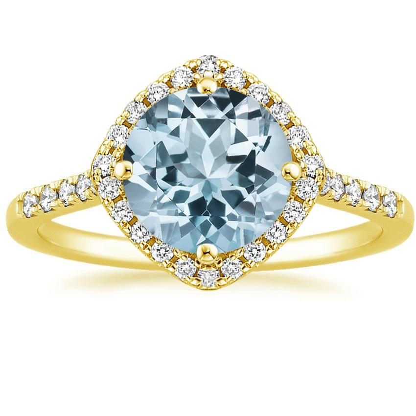 Yellow Gold Aquamarine Cometa Diamond Ring