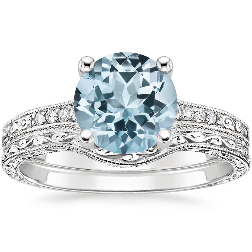 18KW Aquamarine Contoured Luxe Hudson Diamond Bridal Set, top view