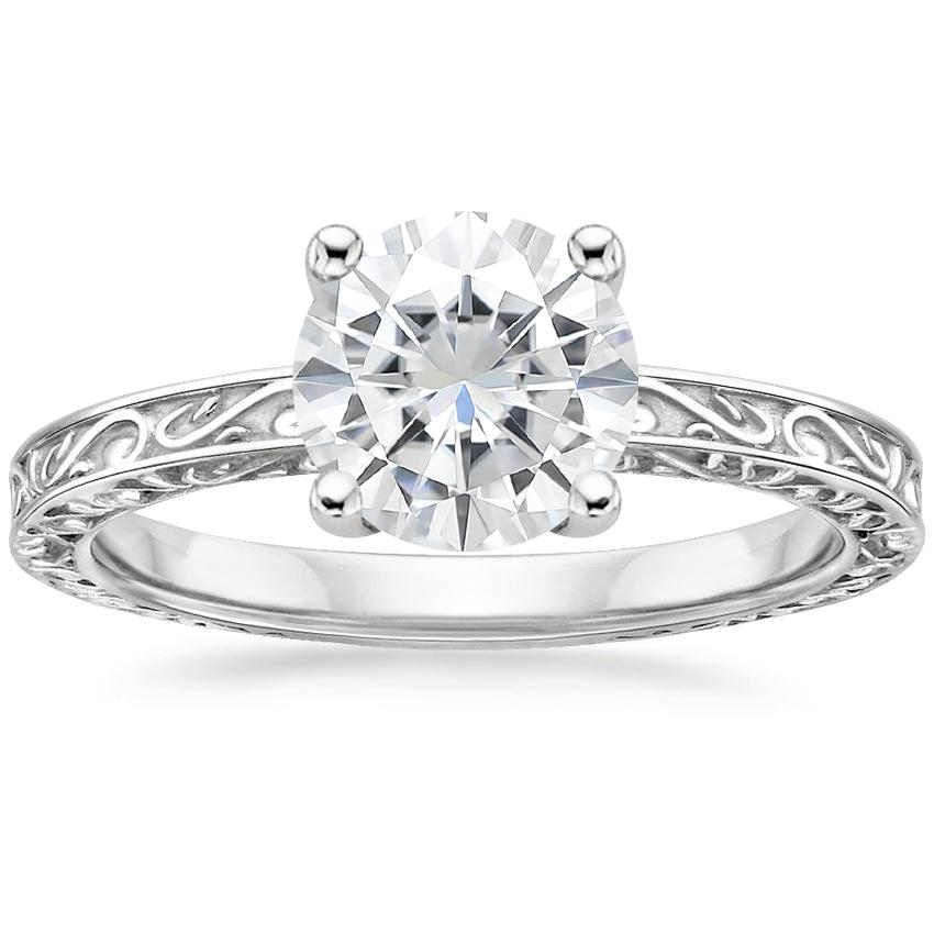 Moissanite Delicate Antique Scroll Solitaire Ring in 18K White Gold
