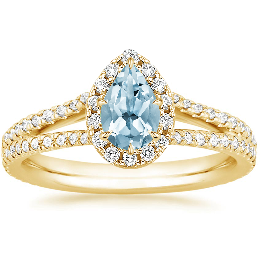 Yellow Gold Aquamarine Fortuna Diamond Ring (1/2 ct. tw.)