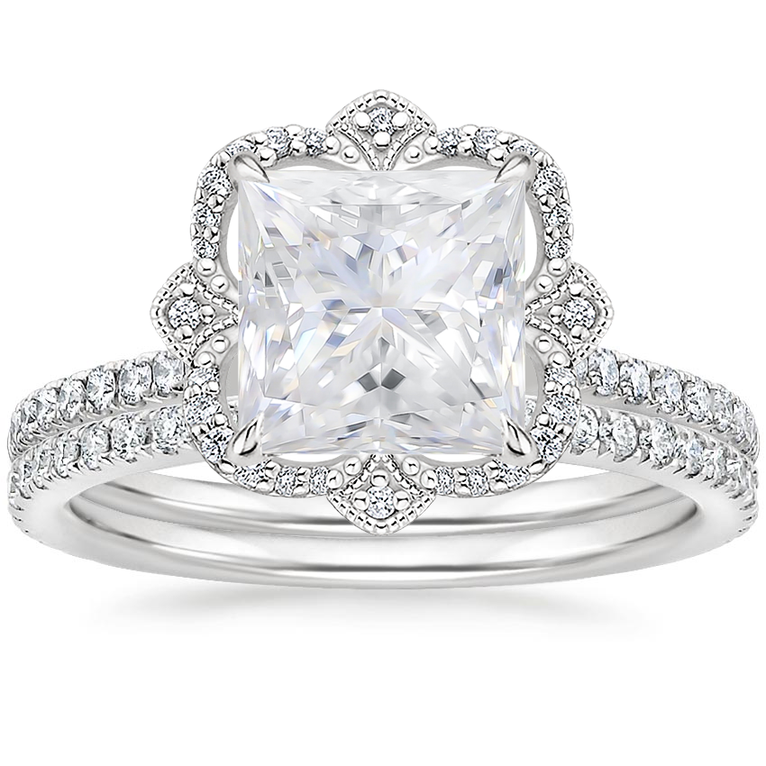 PT Moissanite Reina Diamond Ring with Luxe Ballad Diamond Ring (1/4 ct. tw.), top view