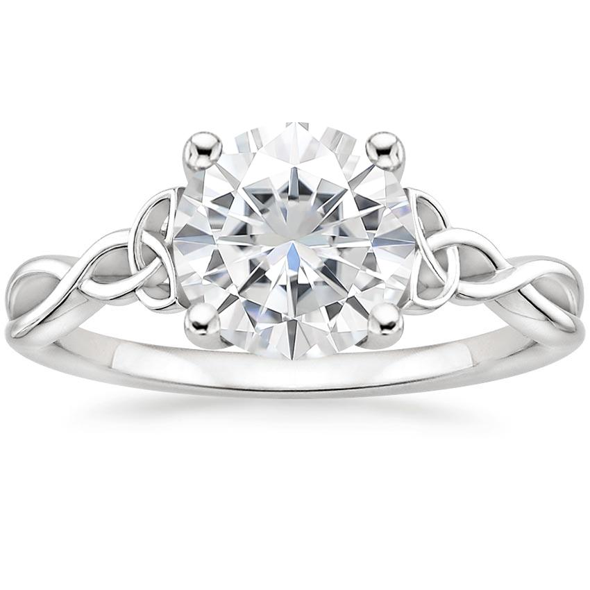 Moissanite Entwined Celtic Love Knot Ring in 18K White Gold