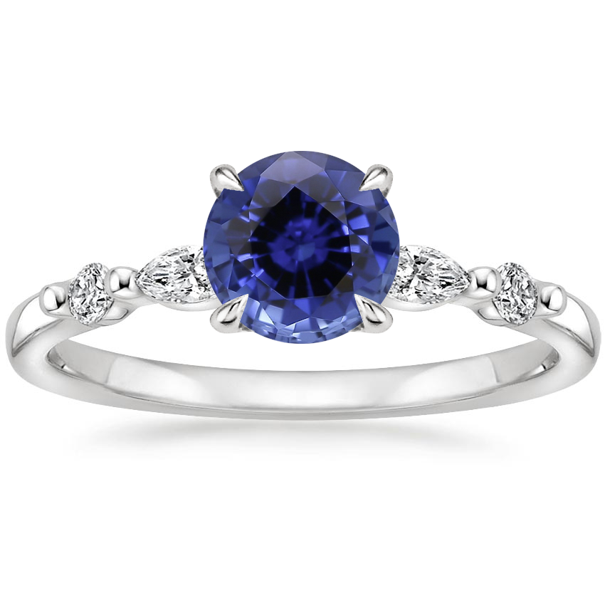 Sapphire Petite Versailles Diamond Ring (1/6 ct. tw.) in 18K White Gold