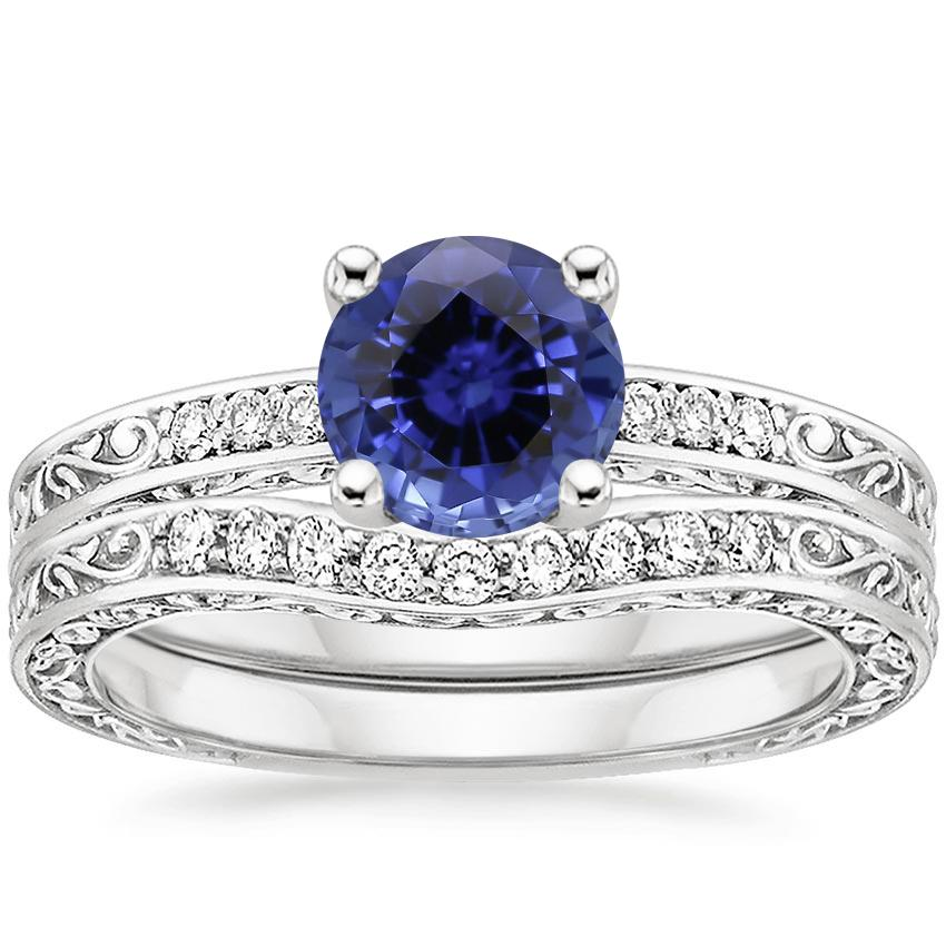 PT Sapphire Delicate Antique Scroll Contoured Diamond Bridal Set, top view
