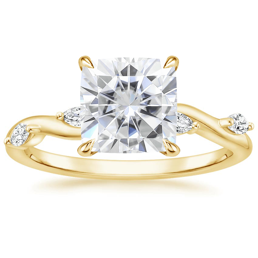 Yellow Gold Moissanite Winding Willow Diamond Ring