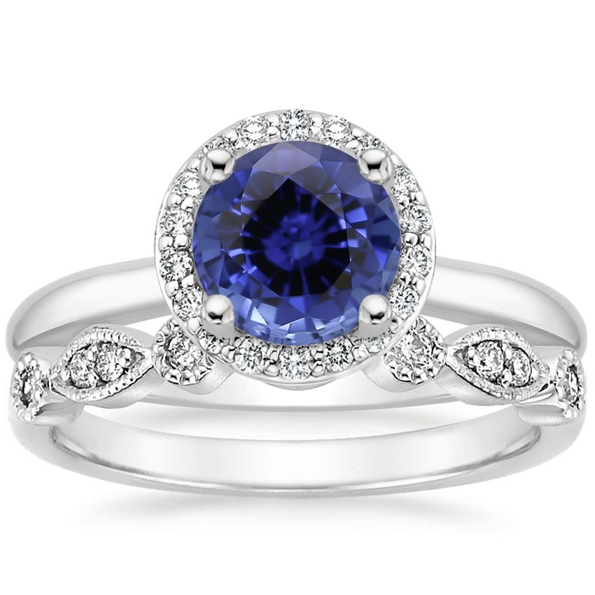 PT Sapphire Halo Diamond Ring (1/6 ct. tw.) with Tiara Diamond Ring (1/10 ct. tw.), top view