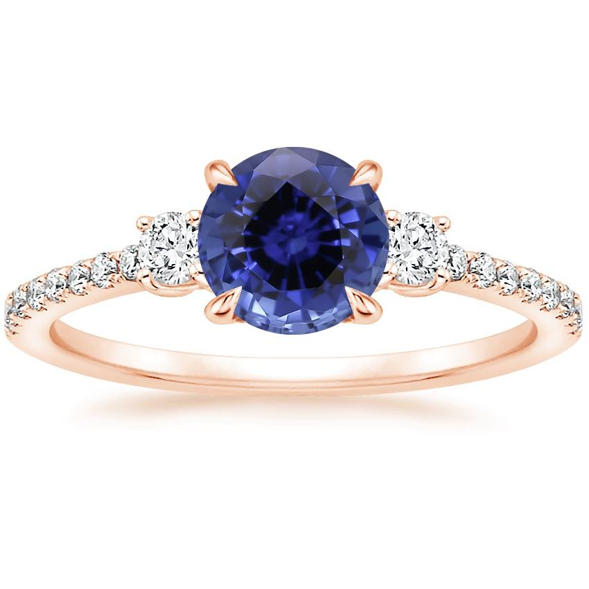 Rose Gold Sapphire Lyra Diamond Ring (1/4 ct. tw.)