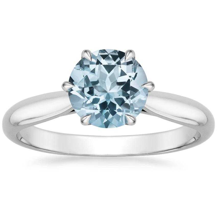 Aquamarine Catalina Ring in 18K White Gold
