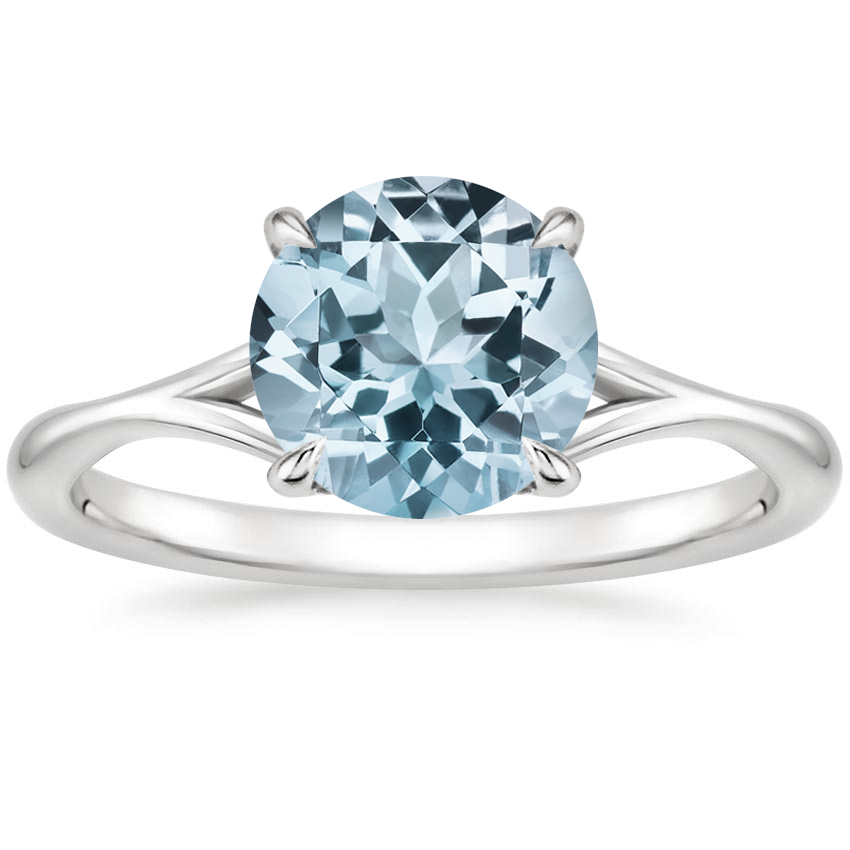 Aquamarine Valetta Ring in 18K White Gold