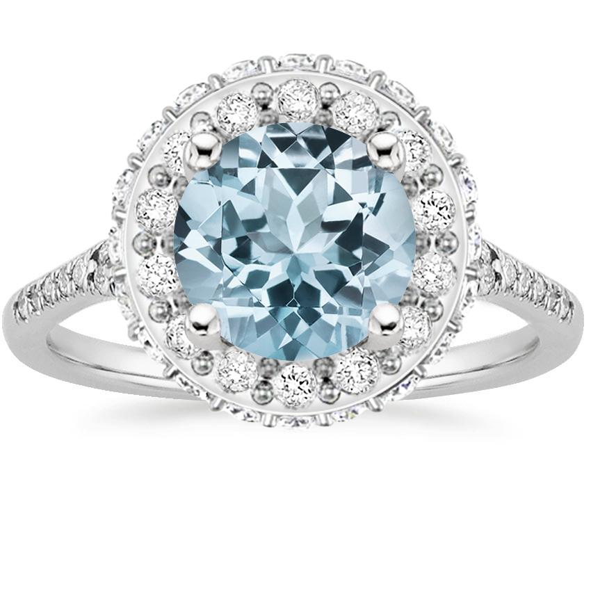 Aquamarine Circa Diamond Ring (1/2 ct. tw.) in 18K White Gold