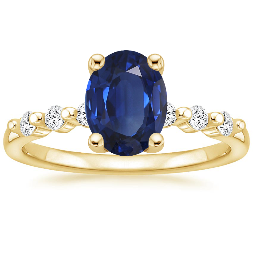 Yellow Gold Sapphire Petite Marseille Diamond Ring (1/6 ct. tw.)