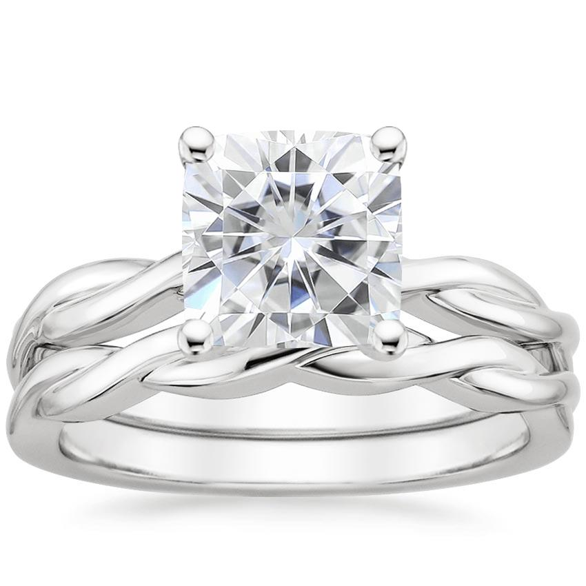 PT Moissanite Twisted Vine Bridal Set, top view