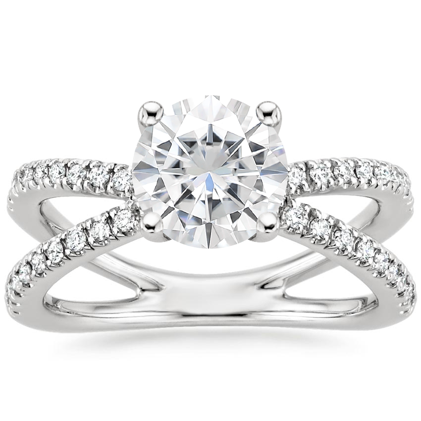 Moissanite Bisou Diamond Ring (1/3 ct. tw.) in 18K White Gold