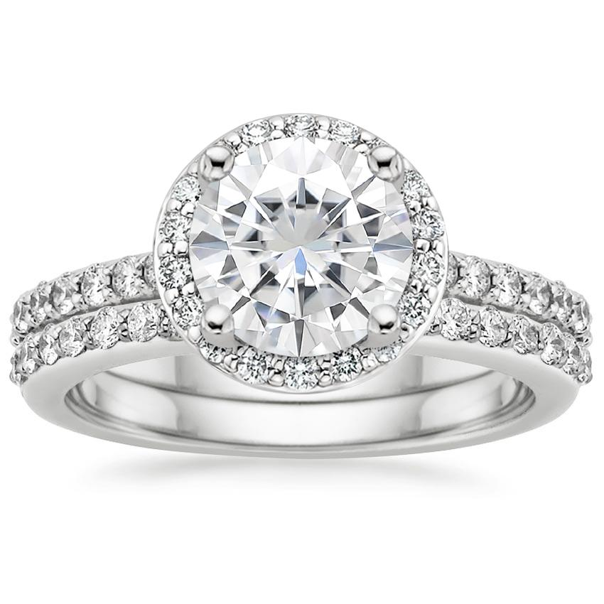 18KW Moissanite Halo Diamond Ring with Side Stones (1/3 ct. tw.) with Petite Shared Prong Diamond Ring (1/4 ct. tw.), top view